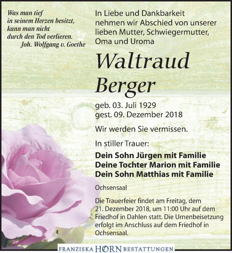 Traueranzeige für Waltraud Berger vom 15.12.2018 aus Torgauer Zeitung