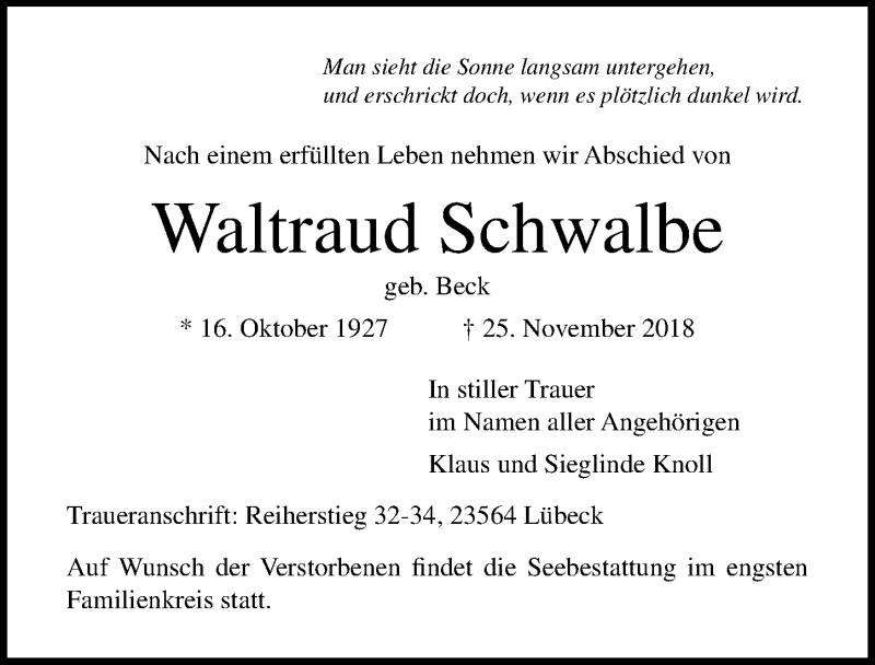 Traueranzeige von  Waltraud Schwalbe