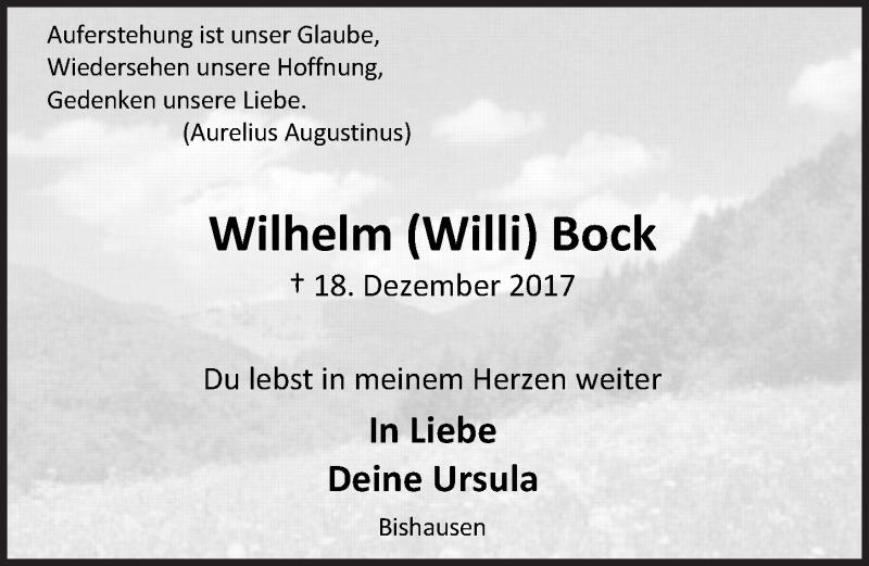 Traueranzeige von  Wilhelm Bock