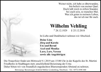 Traueranzeige für Wilhelm Vehling vom 29.12.2018 aus Schaumburger Nachrichten