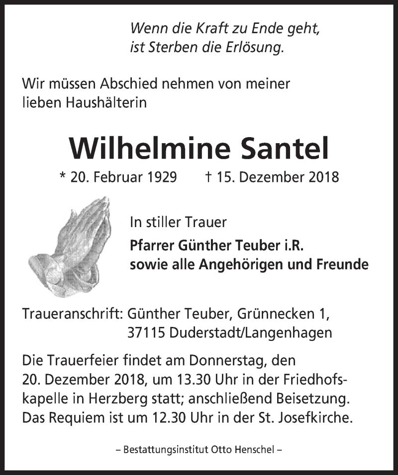 Traueranzeige von  Wilhelmine Santel