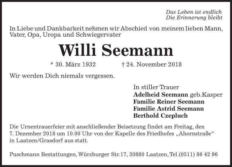 Traueranzeige von  Willi Seemann