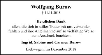 Traueranzeige für Wolfgang Burow vom 08.12.2018 aus Schaumburger Nachrichten