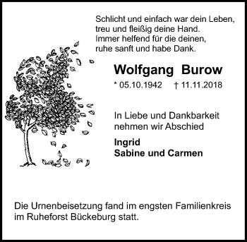 Traueranzeige für Wolfgang Burow vom 24.11.2018 aus Schaumburger Nachrichten