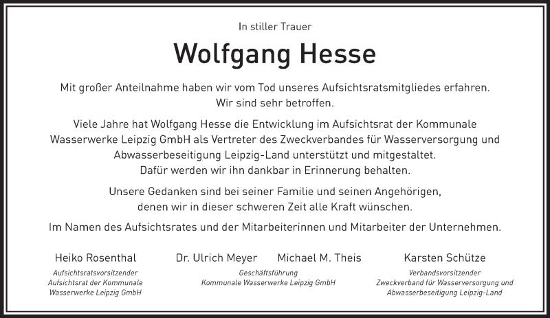 Traueranzeige für Wolfgang Hesse vom 08.12.2018 aus Leipziger Volkszeitung