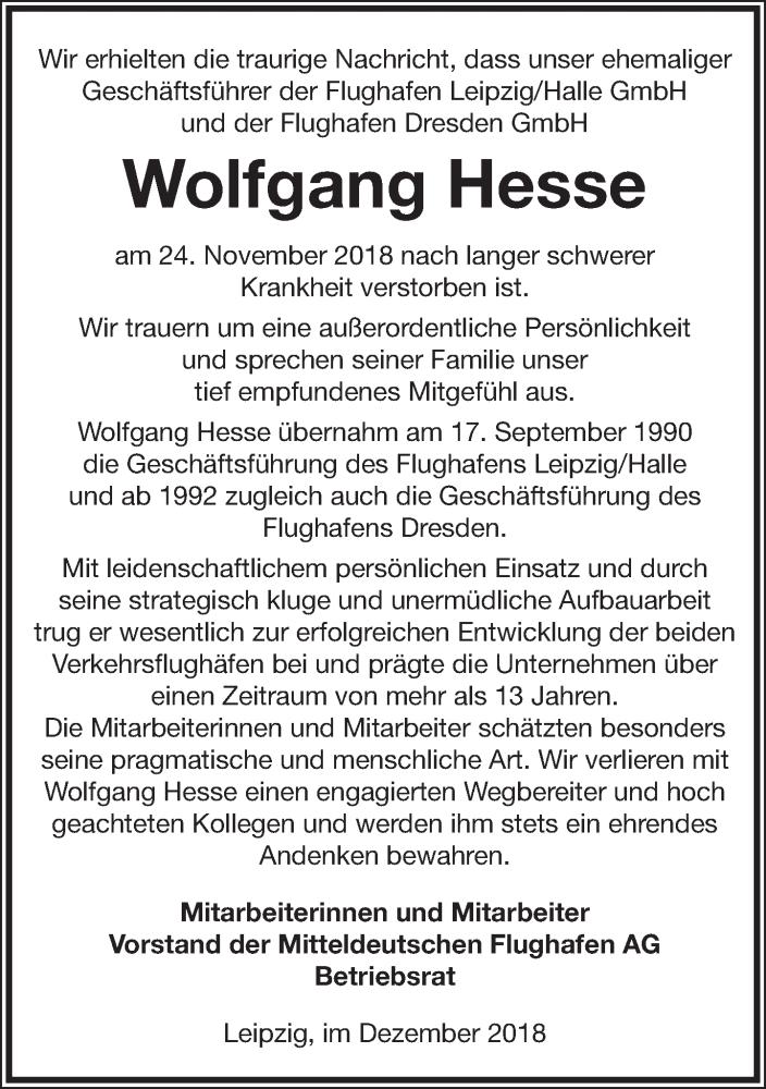 Traueranzeige für Wolfgang Hesse vom 15.12.2018 aus Leipziger Volkszeitung