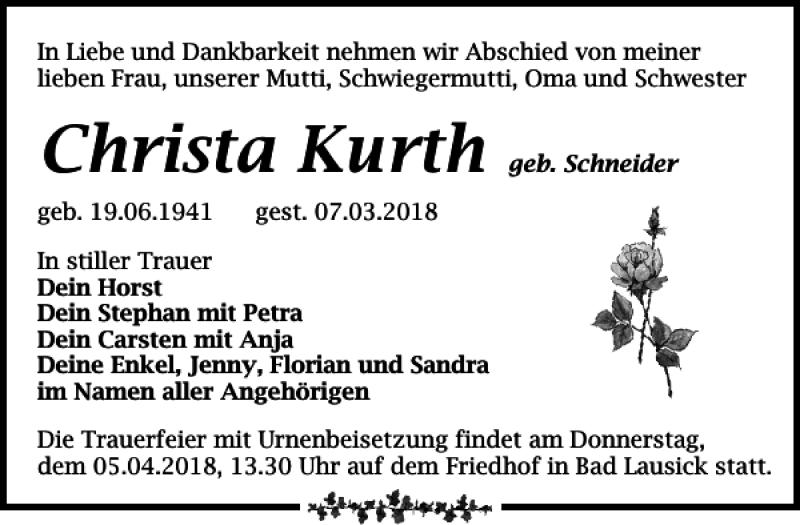 Traueranzeige für Christa Kurth vom 17.03.2018 aus Leipziger Volkszeitung