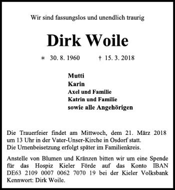 Traueranzeige für Dirk Woile vom 17.03.2018 aus Kieler Nachrichten / Segeberger Zeitung