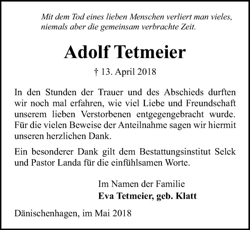 Traueranzeige für Adolf Tetmeier vom 05.05.2018 aus Kieler Nachrichten