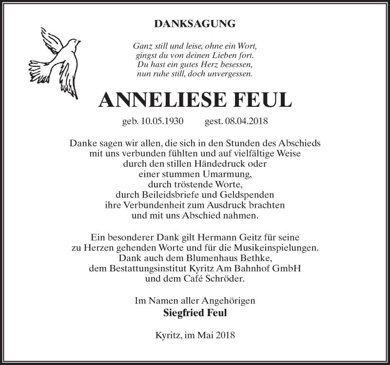 Traueranzeige für Anneliese Feul vom 19.05.2018 aus Märkischen Allgemeine Zeitung