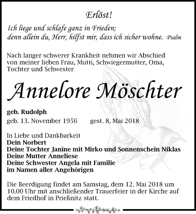 Traueranzeige von  Annelore Möschter