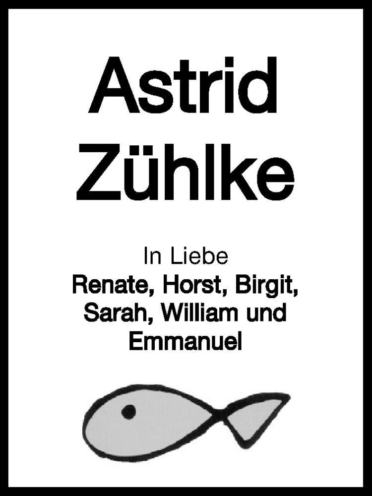 Traueranzeige für Astrid Zühlke vom 31.03.2018 aus Kieler Nachrichten