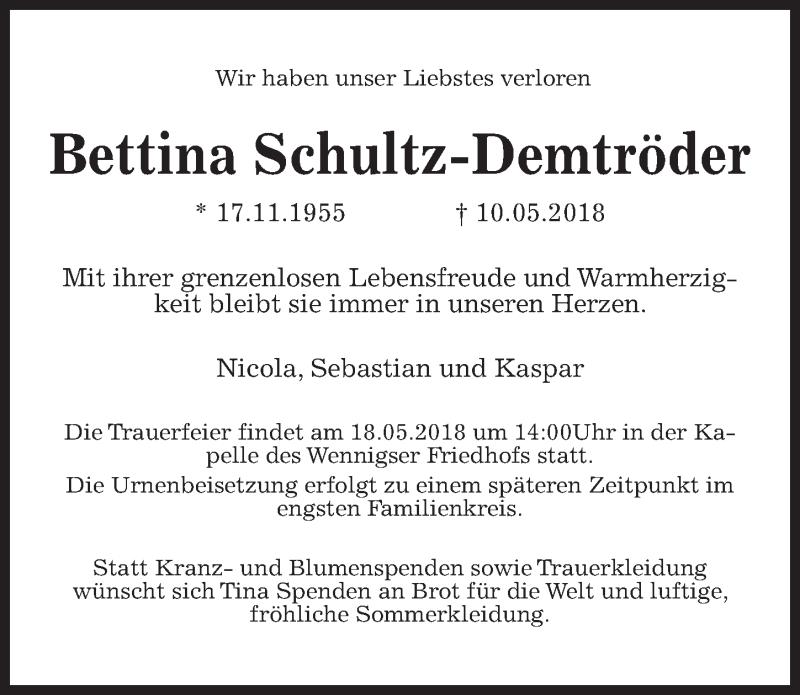 Traueranzeige von  Bettina Schultz-Demtröder