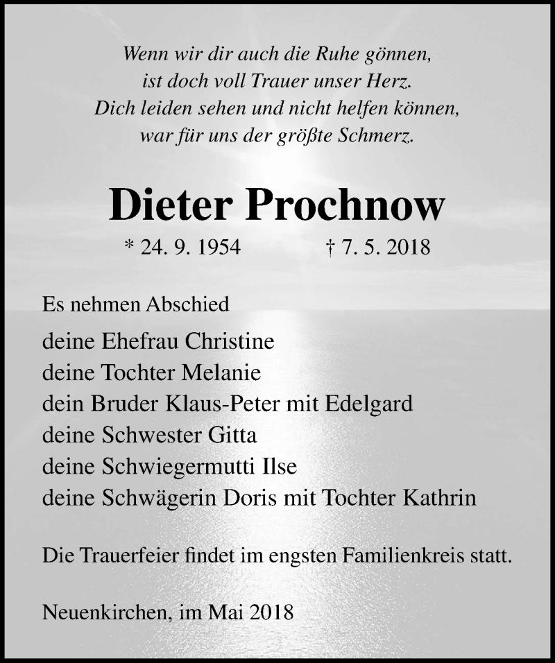 Traueranzeige von  Dieter Prochnow
