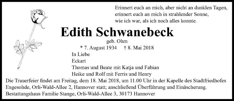 Traueranzeige von  Edith Schwanebeck
