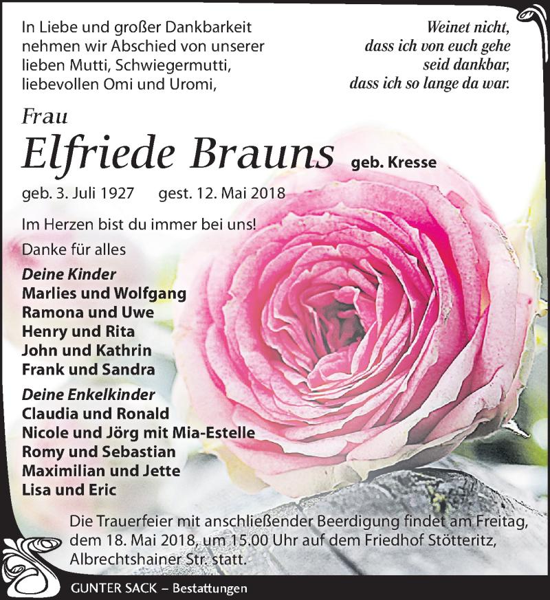 Traueranzeige von  Elfriede Brauns