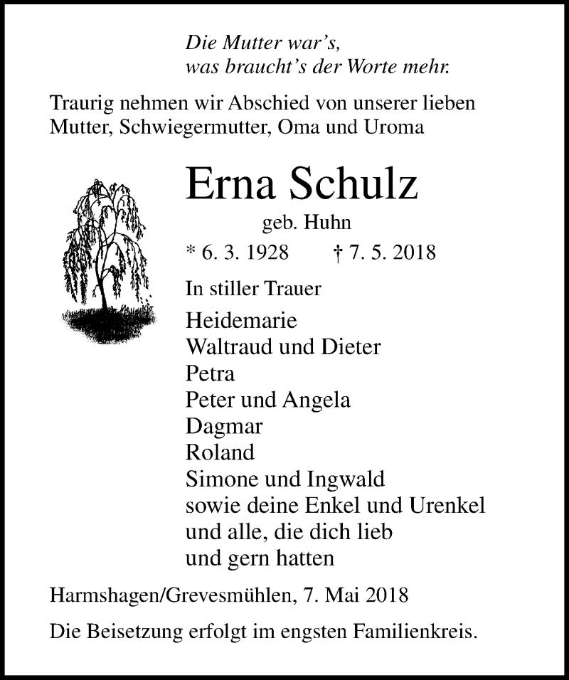 Traueranzeige von  Erna Schulz