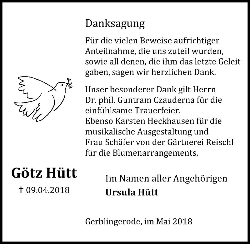 Traueranzeige für Götz Hütt vom 05.05.2018 aus Eichsfelder Tageblatt
