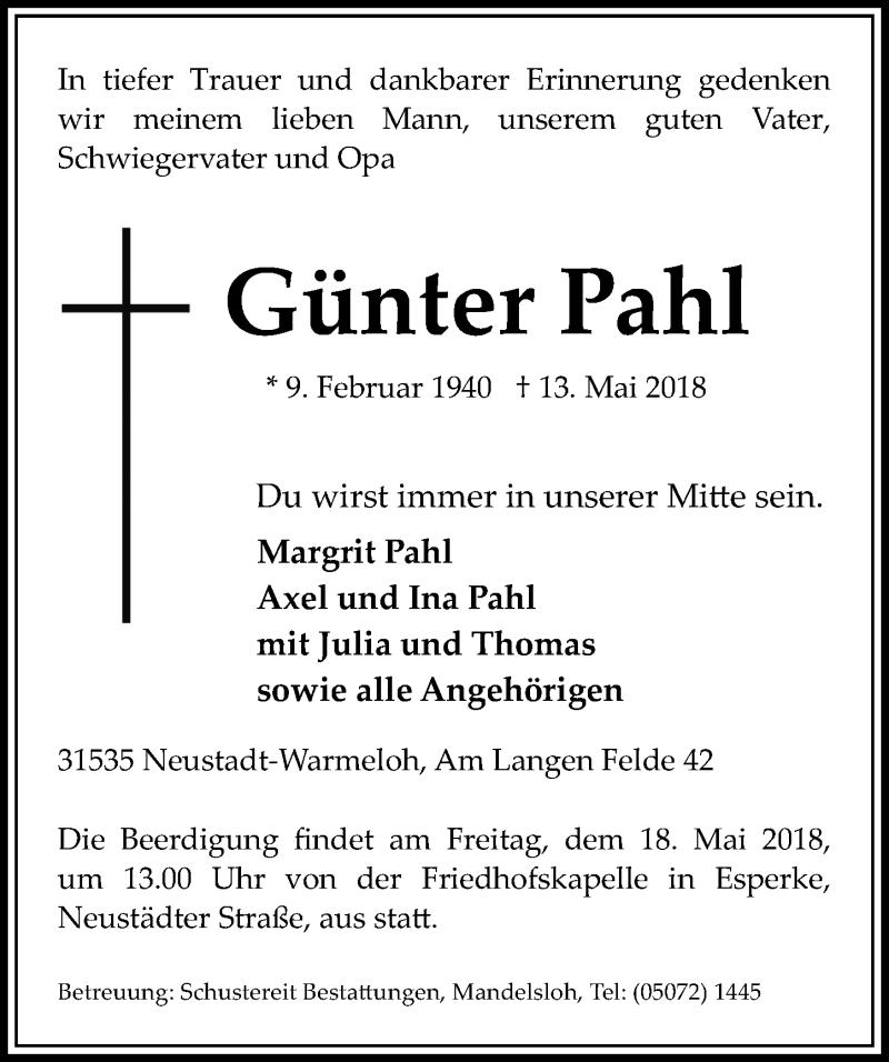 Traueranzeige von  Günter Pahl