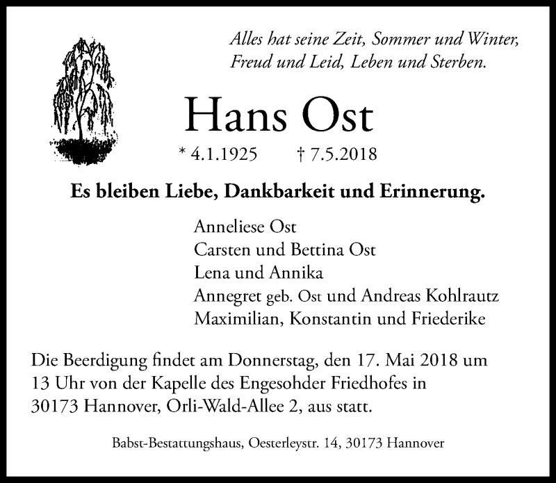 Traueranzeige von  Hans Ost
