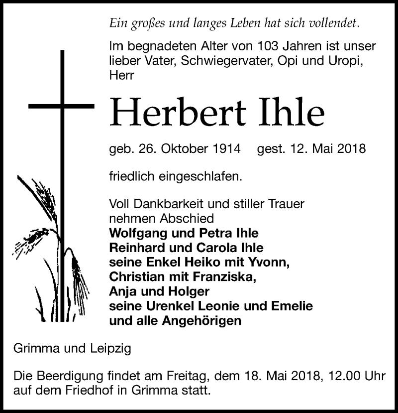 Traueranzeige von  Herbert Ihle