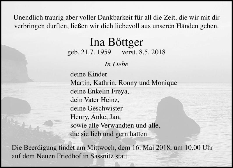 Traueranzeige von  Ina Böttger