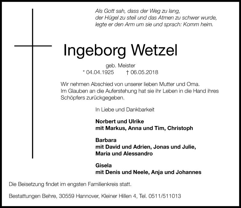 Traueranzeige von  Ingeborg Wetzel