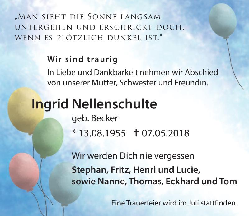 Traueranzeige von  Ingrid Nellenschulte