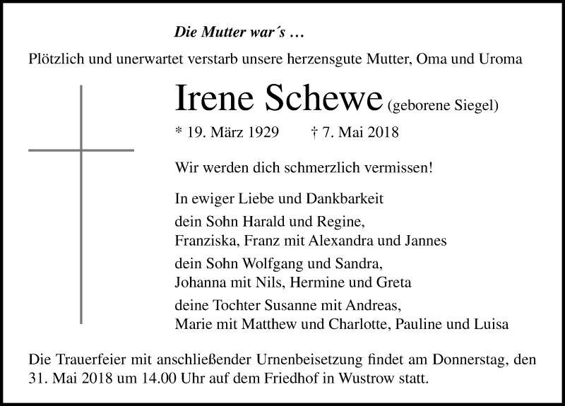 Traueranzeige von  Irene Schewe