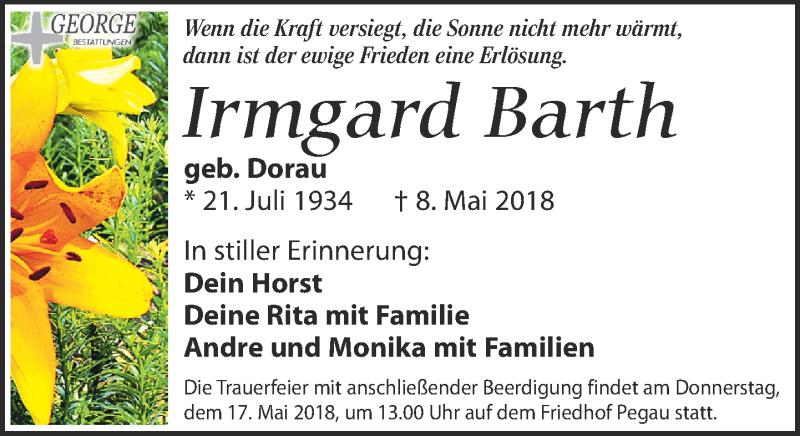 Traueranzeige von  Irmgard Barth