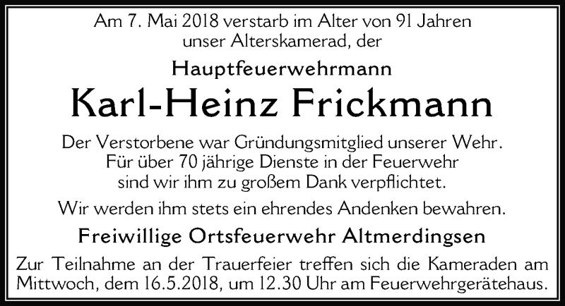 Traueranzeige von  Karl-Heinz Frickmann