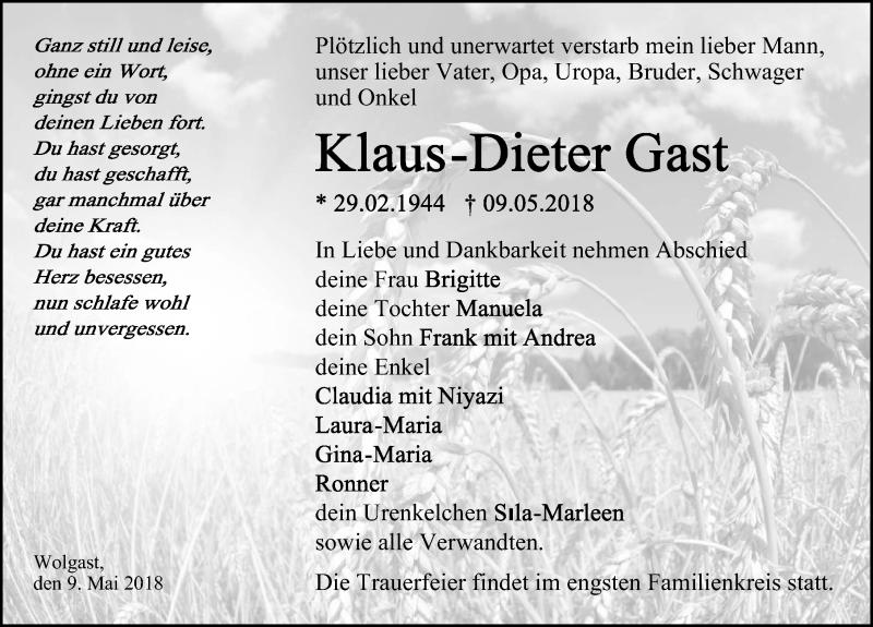 Traueranzeige von  Klaus-Dieter Gast
