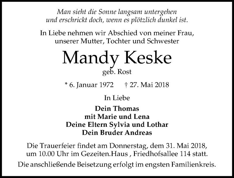 Traueranzeige für Mandy Keske vom 30.05.2018 aus Lübecker Nachrichten