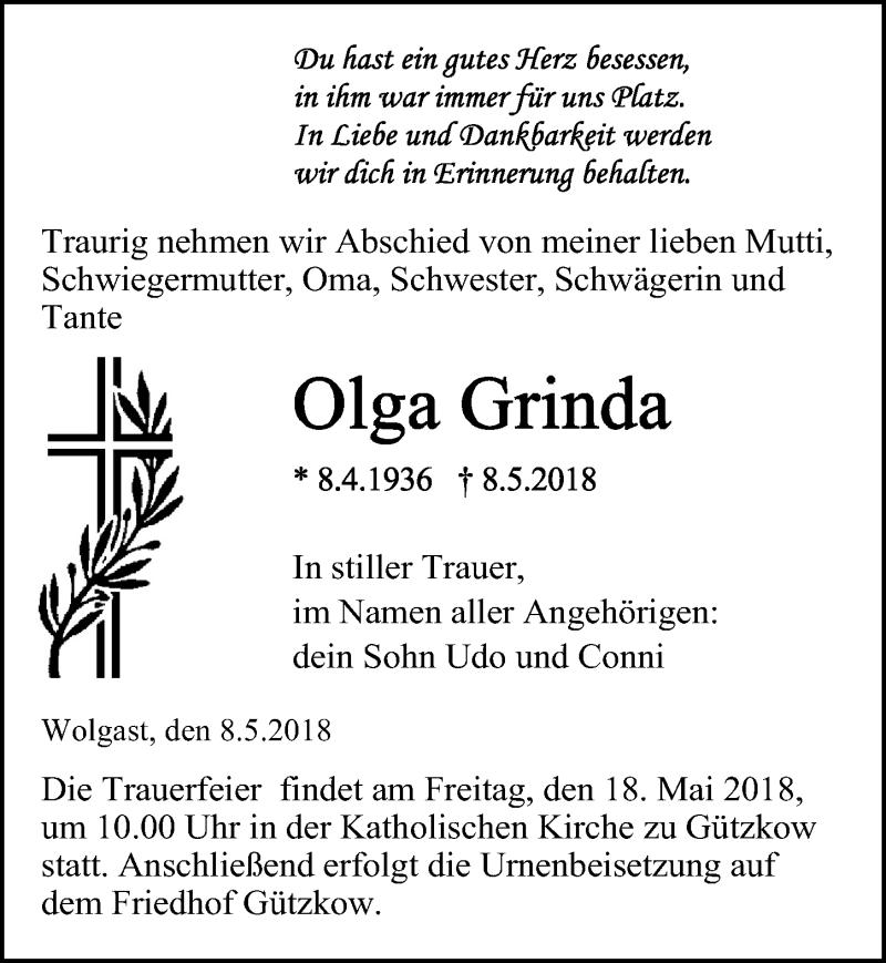 Traueranzeige von  Olga Grinda