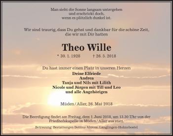 Traueranzeige für Theo Wille vom 29.05.2018 aus Aller Zeitung