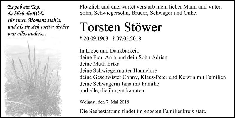 Traueranzeige von  Torsten Stöwer