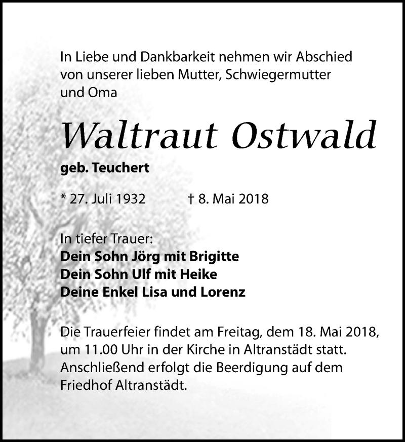 Traueranzeige von  Waltraut Ostwald
