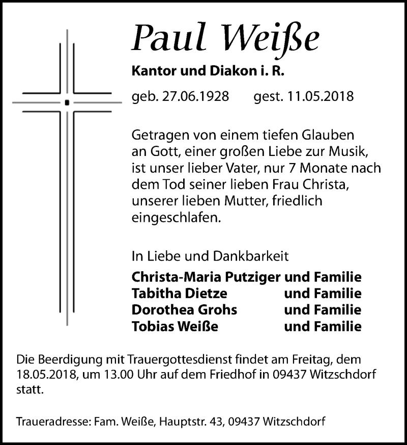 Traueranzeige von  Paul Weiße