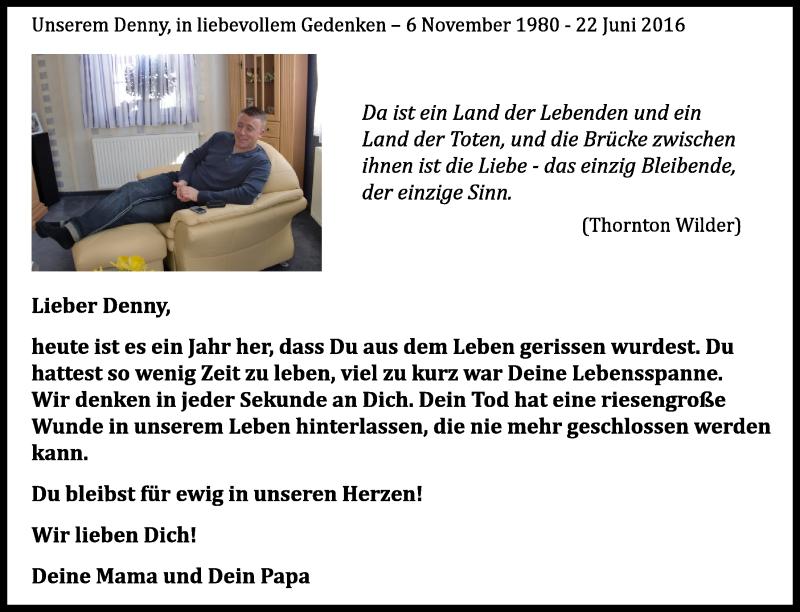 Traueranzeige für Dennis Isop vom 22.06.2017 aus Ostsee-Zeitung