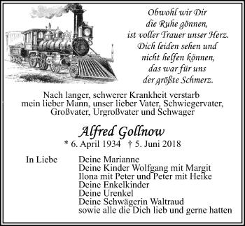 Traueranzeige für Alfred Gollnow vom 09.06.2018 aus Ostsee-Zeitung GmbH