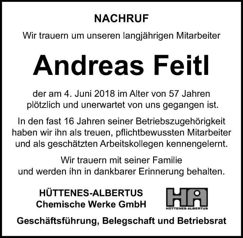 Anzeige von  Andreas Feitl