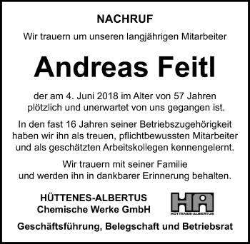 Traueranzeige für Andreas Feitl vom 11.06.2018 aus Hannoversche Allgemeine Zeitung/Neue Presse