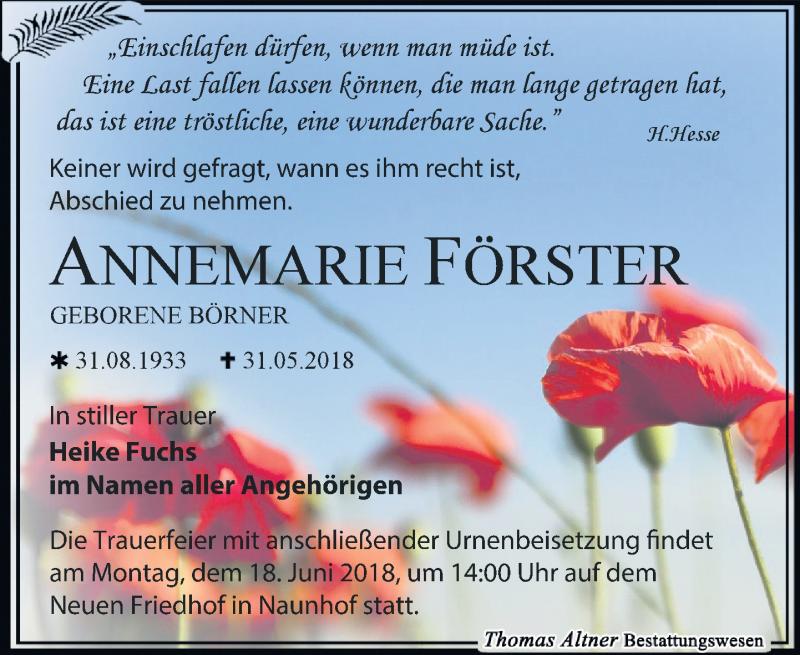 Traueranzeige von  Annemarie Förster