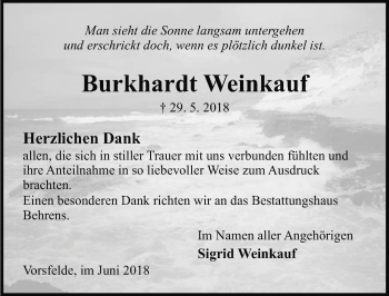 Traueranzeige für Burkhardt Weinkauf vom 29.06.2018 aus Aller Zeitung