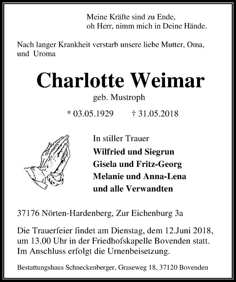 Traueranzeige für Charlotte Weimar vom 09.06.2018 aus Göttinger Tageblatt