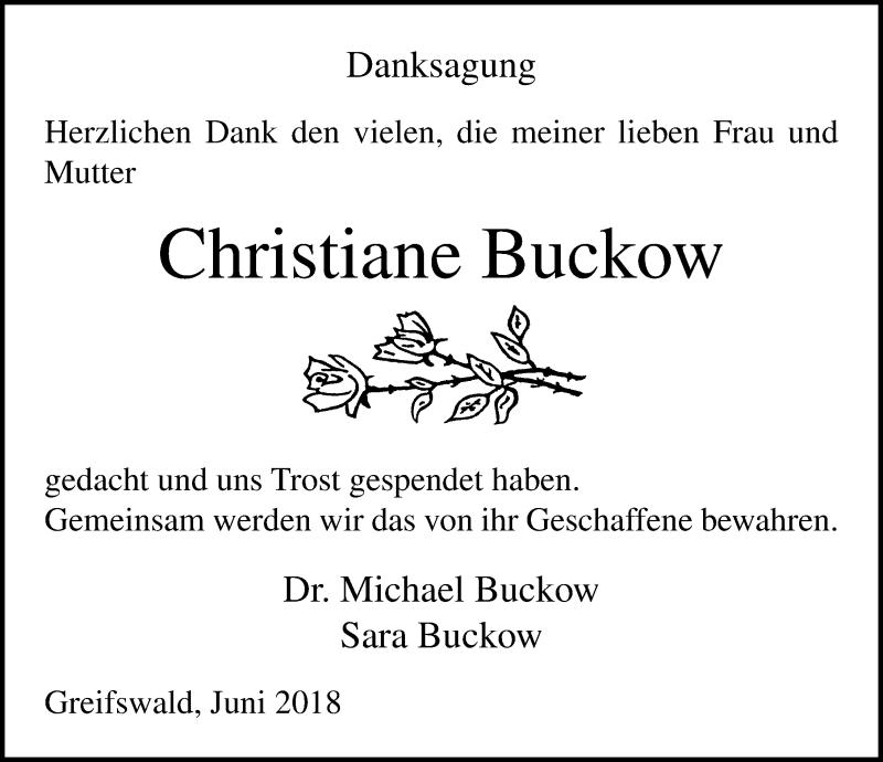 Traueranzeige von  Christiane Buckow