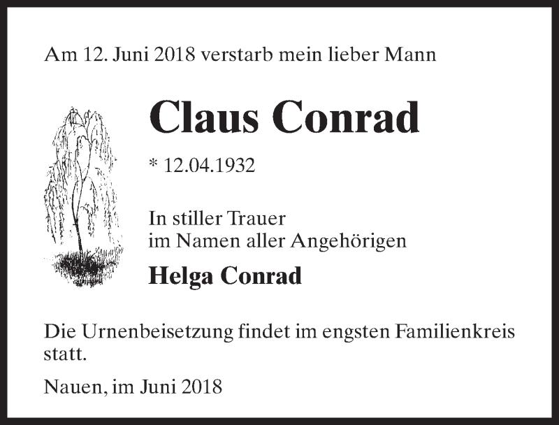 Traueranzeige für Claus Conrad vom 16.06.2018 aus Märkischen Allgemeine Zeitung