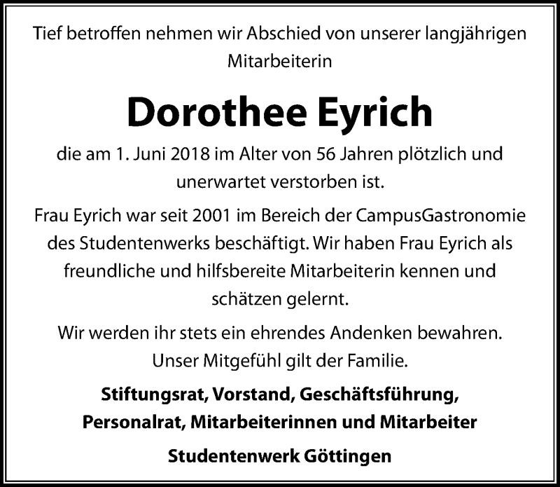 Traueranzeige für Dorothee Eyrich vom 09.06.2018 aus Göttinger Tageblatt