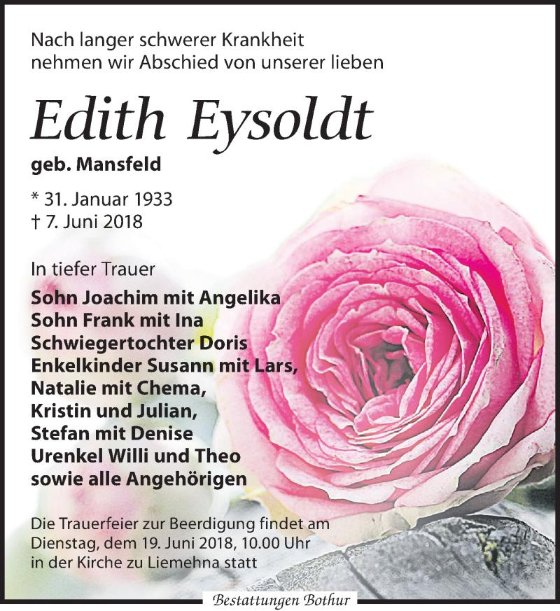 Traueranzeige von  Edith Eysoldt