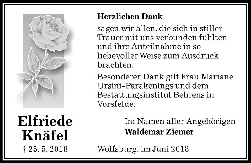 Traueranzeige für Elfriede Knäfel vom 07.06.2018 aus Aller Zeitung